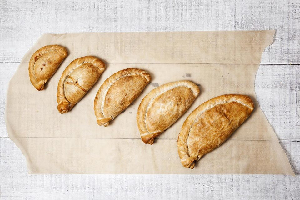 Food photography for Crantock Bakery pasties in Cornwall