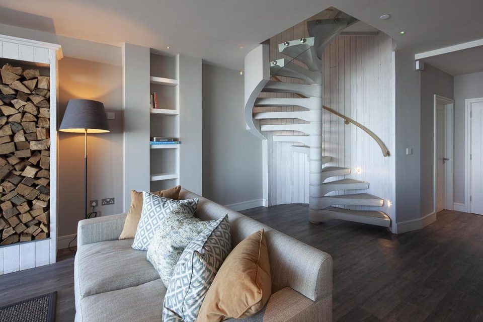 Carbis Bay beach villa No2 spiral staircase for Spiral UK.