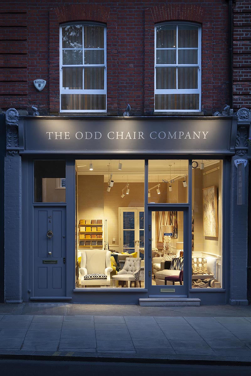The Odd Chair Company Pinlico showroom London exterior and portraits of Mauritzio James Cook Victoria